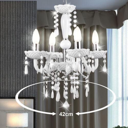 Pendel Hänge Leuchte weiss Kronleuchter Wintergarten DurchmesserxHöhe 420x495 mm
