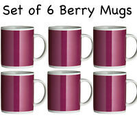 Amazing New Set of 6 Coffee Tea Hot Chocolate Mugs Cups 11oz Berry Colour Mugs