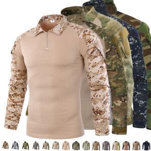 ff818299883c Army T-shirt Mens Military Tactical Combat Shirt Camo Long Sleeve ...
