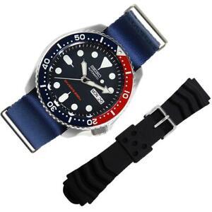 NEW SKX009K1 SKX009 Seiko Blue Dial Sports Watch wth Unique Nylon Bracelet EXTRA