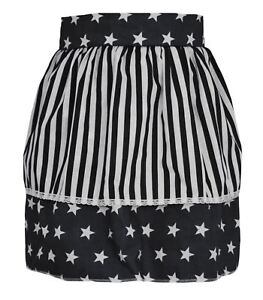Ladies-Black-Star-Pinafore-With-White-Stripe-50-039-s-Apron-Fancy-Dress-One-Size