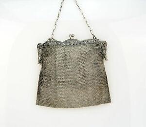 33a37825b0cb Das Bild wird geladen Antike-Jugendstil-SILBER-Kettentasche -Theatertasche-silver-chain-purse-