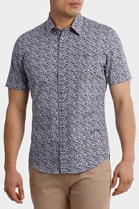 NEW-Jeff-Banks-Short-Sleeve-Floral-Mix-Shirt-Burgundy