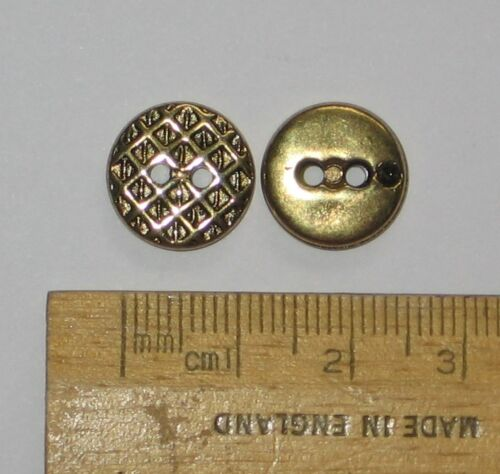10 pack Gold metal look plastic Buttons Criss Cross Diamond Pattern 13mm 2 holes
