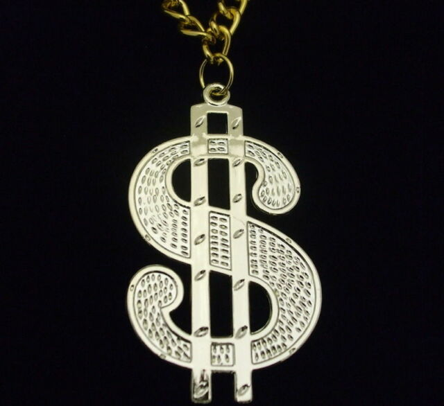 70s 1970s Fancy Dress Gold Coloured $ Dollar Medallion & Chain New by Smiffys