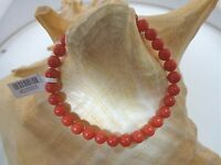 6mm Or 6.5mm Calibrated Round Italian Sardinia Red Coral Stretch Bracelet 7.0