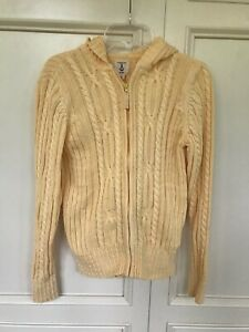 Details about Girl's Lands End Cableknit Hoodie Sweater