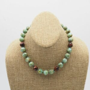 Vintage-Turquoise-Dyed-Mother-Of-Pearl-amp-Brown-Glass-Bead-Necklace-Toggle-Clasp