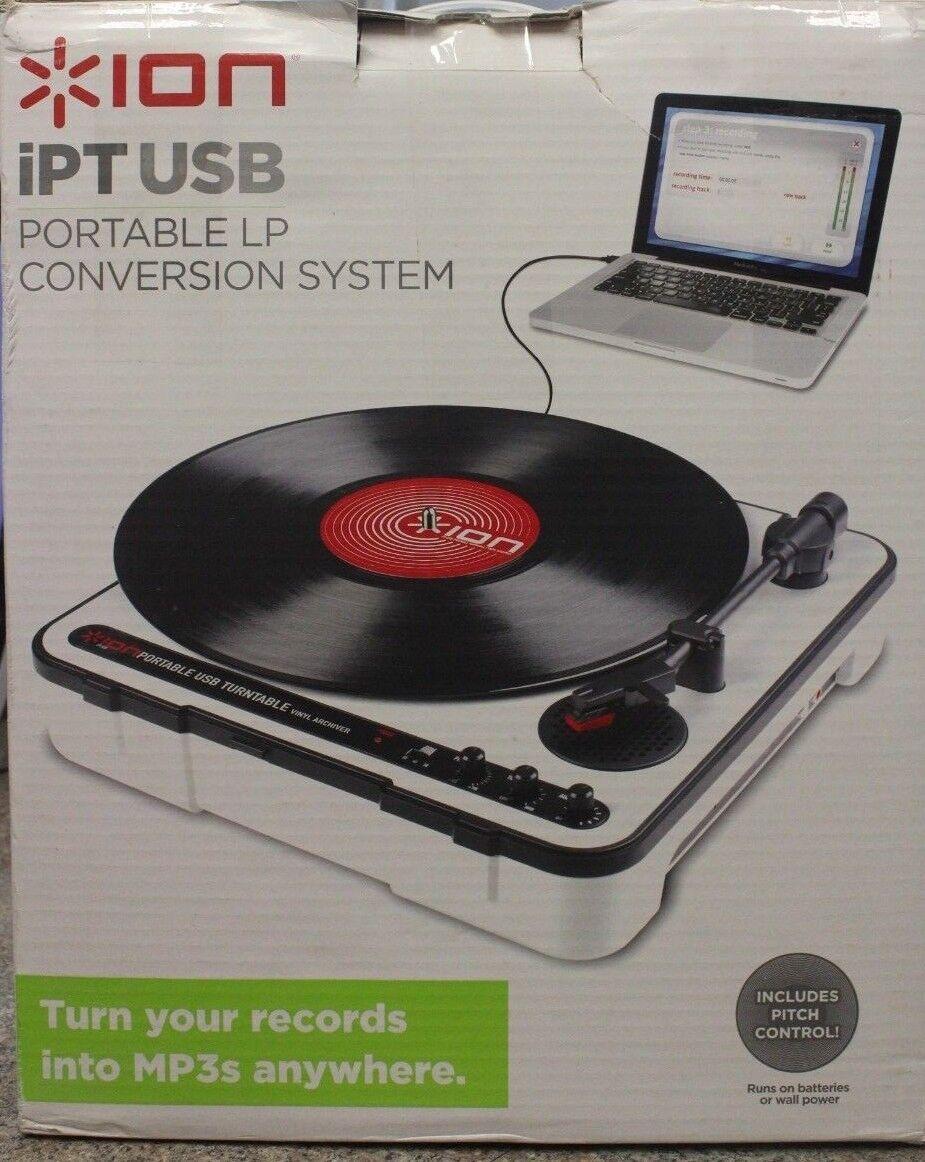 ION Portable USB Turntable Convert Vinyl to CD or Mp3 Built in Speaker