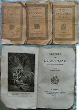 E/ OEUVRES DE ROUSSEAU -EMILE- 3/3 Tomes (Thomine et Fortic 1822-1823) GRAVURES