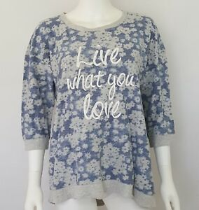 Sonoma-Life-Style-Size-XL-Top-LiveWhat-You-Love-Blue-Gray-Floral-3-4-Sleeve
