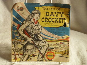WALT-DISNEY-039-S-BALLAD-of-DAVY-CROCKETT-Cricket-Records-1953-45-rpm