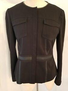 Leather Top Tahari Elie Trims 6 Jacketcoat Faux Front Structure Sz Sort Snap zOqZgq4c