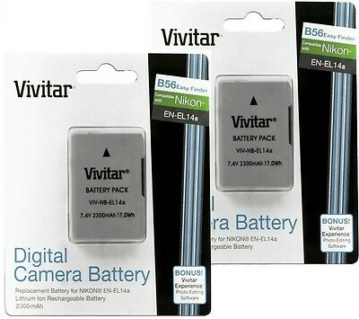2300 mAh 2 Pcs EN-EL14a Li-Ion Battery for Nikon D5200 D5100 D3200 D3100