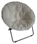 zenithen round chair with high gloss silver frame in tufted velvet fabric, white
