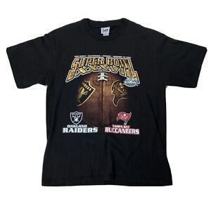 Super Bowl 2003 Oakland Raiders Tampa Bay Bucs Shirt Sz Large Short Sleeve Tee