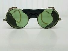 Antique Vintage Steampunk Goggles Glasses Aviator Motorcycle Green Tint Pioneer