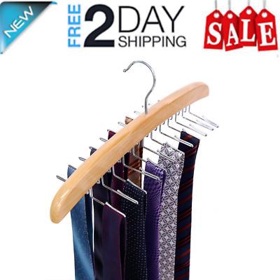 Beige SunTrade Wooden Tie Hanger,24 Tie Organizer Rack Hanger Holder 24 Hooks