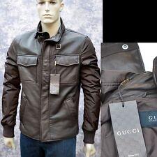 GUCCI New sz 58 - 48 Authentic Designer Leather Web Mens Coat Jacket brown $3500