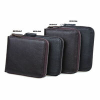 Real Leather Zipper Wallet Cards Cash Coin Holder Purse Black Coffee Unisex Gift