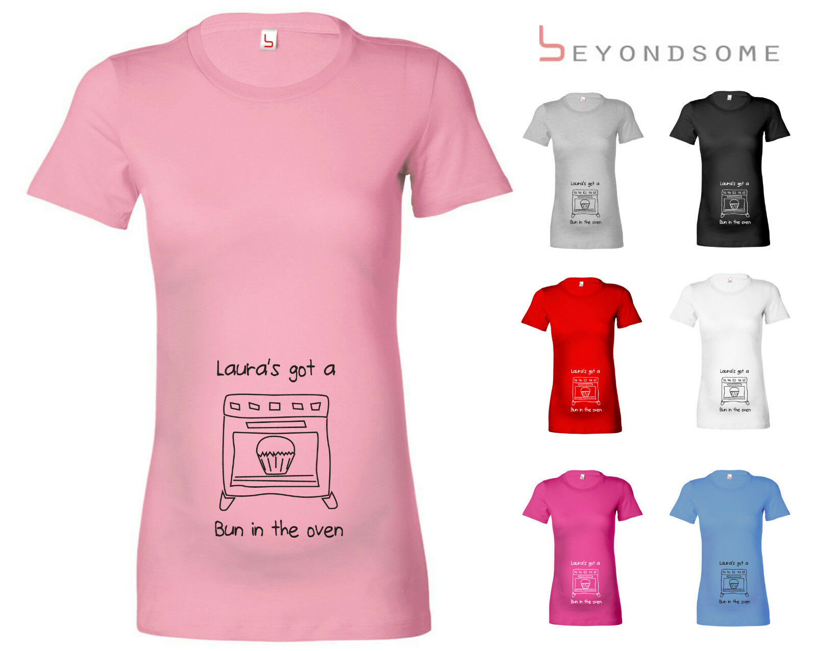 e1a3ad17 WOMENS PERSONALISED BUN IN THE OVEN MATERNITY PREGNANCY T-SHIRT T SHIRT TOP  GIFT
