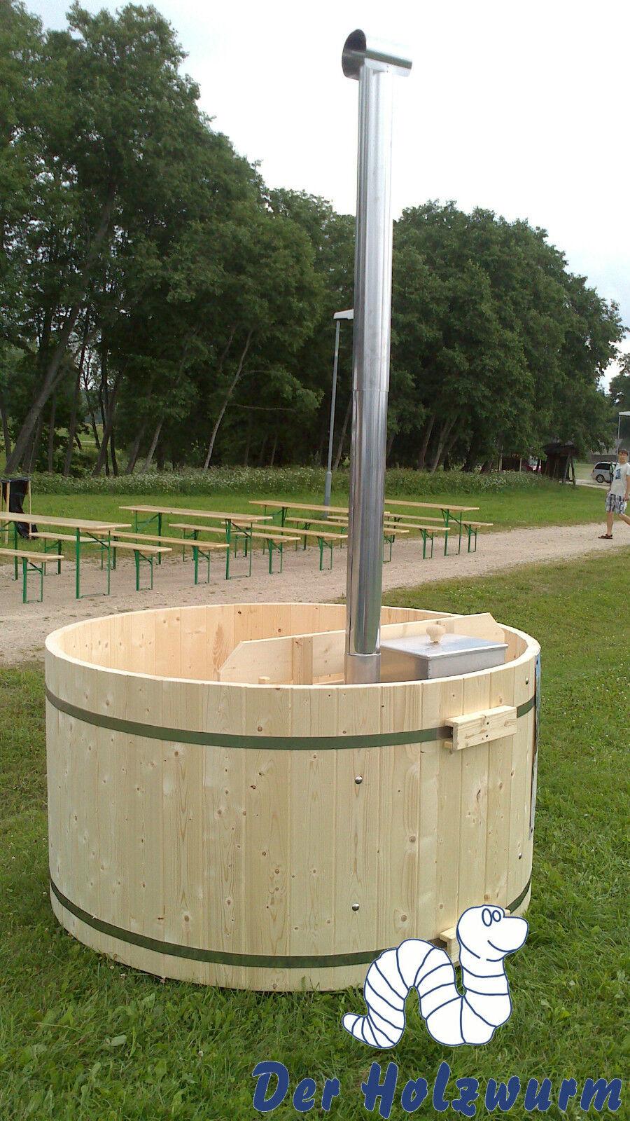 Badebottich 160 cm Badefass Badezuber Holz mit Unterwasserofen incl. PVC Einsatz