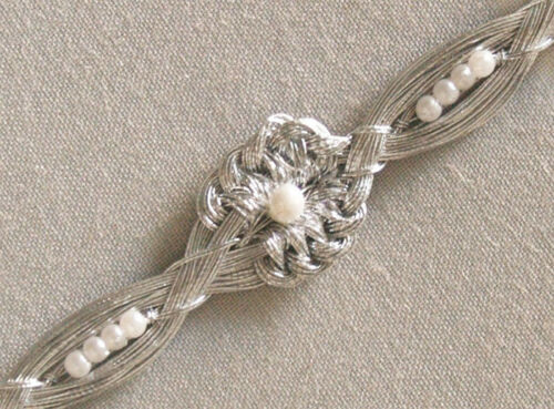 Passementerie 4 Yards Handmade Braid Silver Trim Pearls