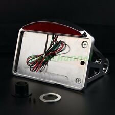 Chrome Motorcycle Side Mount License Plate Frame LED Light For Harley Chopper CH