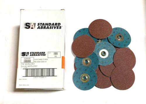 "Standard Abrasives 3/"" Quick Change Discs 80 Grit Aluminum Oxide 25 Pack"