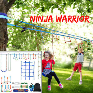 Climbing Rope Ladder 50Ft Slackline Obstacle Course for Home Backyard,Monkey Bar Equipment for Outdoor Backyard Apoliena Ninja Line Hanging Obstacle Course Ninja Warrior Training Equipment for Kids