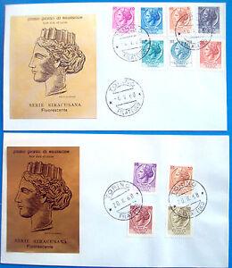 1968-DUE-BUSTE-PRIMO-GIORNO-DI-EMISSIONE-SIRACUSANA-FLUORESCENTE-DA-TORINO