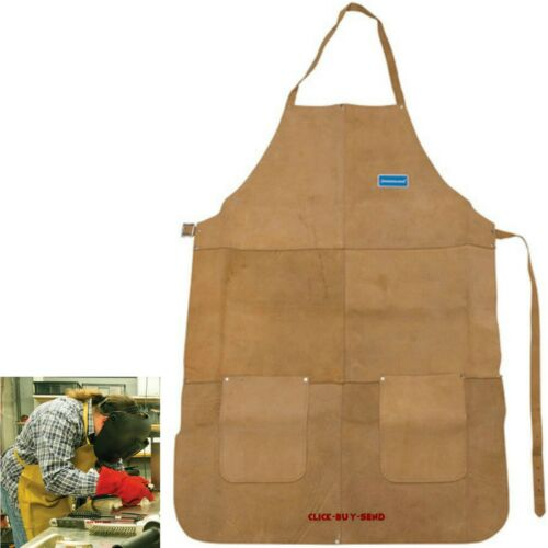 HEAVY DUTY LEATHER FULL LENGTH WELDERS APRON WELDING METALWORK SOLDERING CLASS 2