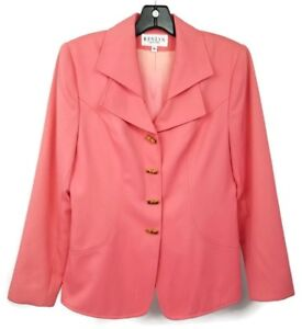 Blazer New Vintage 8 Coral Renlyn Button Bamboo Donna Lapel Pink York Double 0qfxrq5