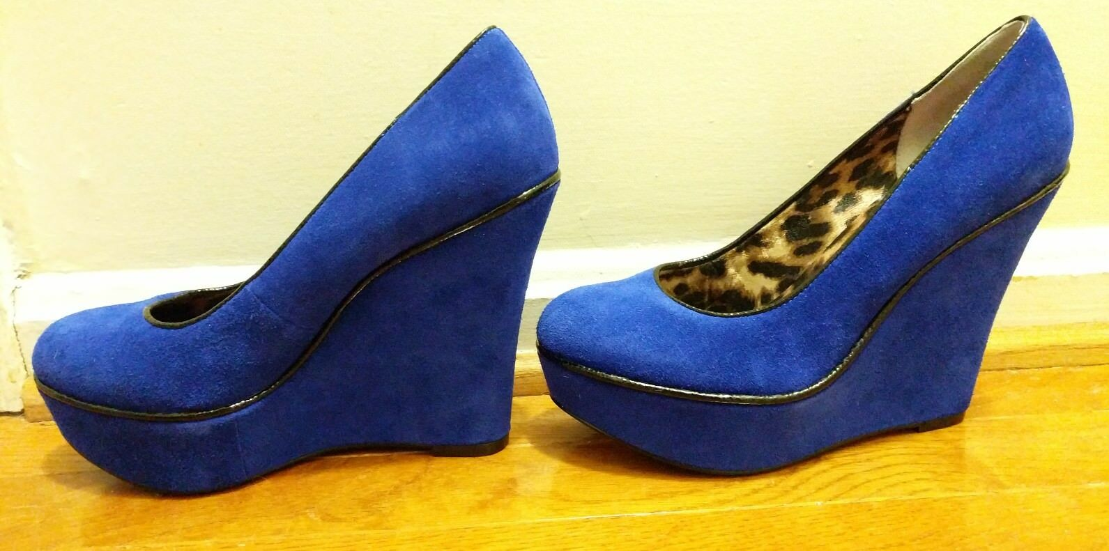 Betsey Johnson Wedges Sz 6 1/2 Suede B Mixxy P Blau Suede 1/2 Schuhes Heels Pin-Up Retro 512293