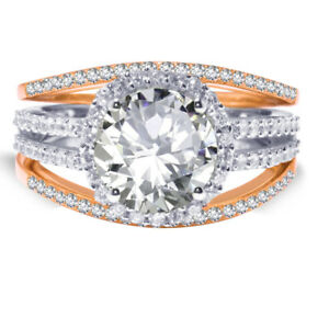 18k-Rose-Gold-Plated-Brilliant-Clear-Wedding-Engagement-Silver-Ring-Set-2-35-Ct