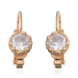 White-Cubic-Zirconia-CZ-Goldtone-Lever-Back-Earrings-Jewelry-for-Women-1-58-Ct