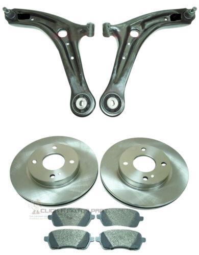 FORD FIESTA MK7 08-17 2 anteriore Wishbone Bracci 2 Dischi Freno E Pastiglie Set Nuovo