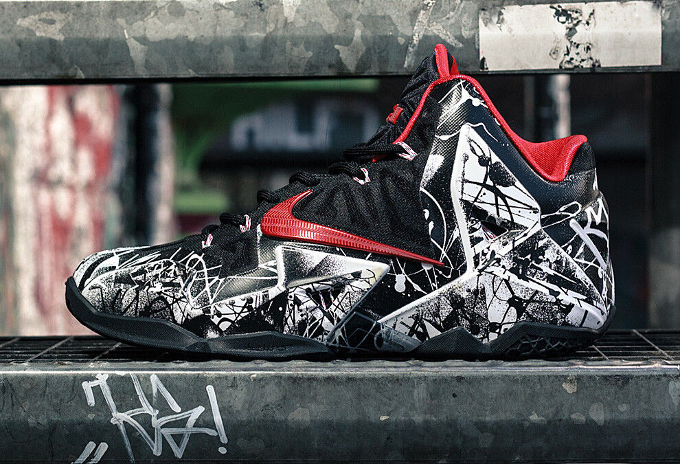 Nike lebron 11 xi graffiti dimensioni 616175-100 cavs kyrie bhm all star -