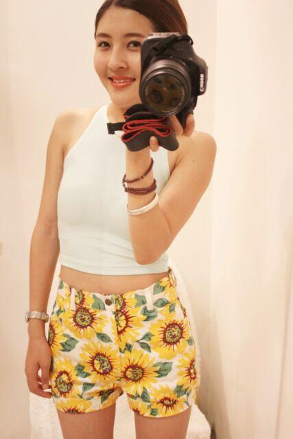 lady sunflower print denim high waist shorts hot pant US size 0 2 4 6 8 10 AA080