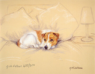 JACK RUSSELL TERRIER JRT DOG ART LIMITED EDITION PRINT - on the Bed