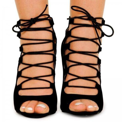 Femmes Lacets Talon Haut Bout Ouvert Femme Gladiateur Tie Up Cheville Sandales ZL1