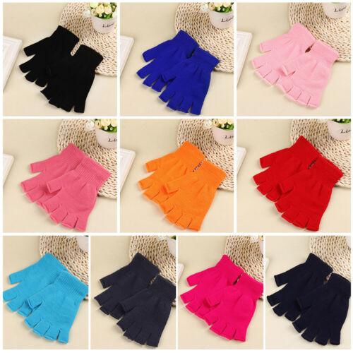 1 Pair Unisex Fashion Half Fingerless Gloves Warmer Warm Knitted Mittens Gift US