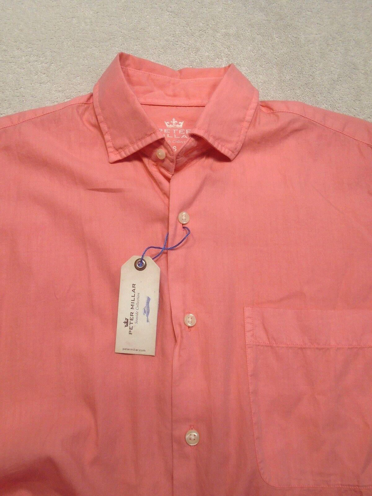 Peter Millar Cotton & Silk Short Sleeve Coral Pink Sport Shirt NWT Small
