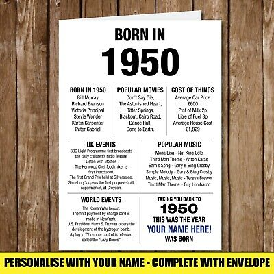 1970 50th Personalised Birthday Greeting Card Back In Edition Ago Milestone 157