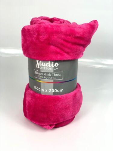 Valeur en flanelle Mink Blanket Throw doux épais Large 150x200cm couleurs assort