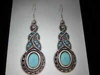 Royal Bali Turquoise / Topaz Drop Earrings With Hook Clasp 2 In Drop