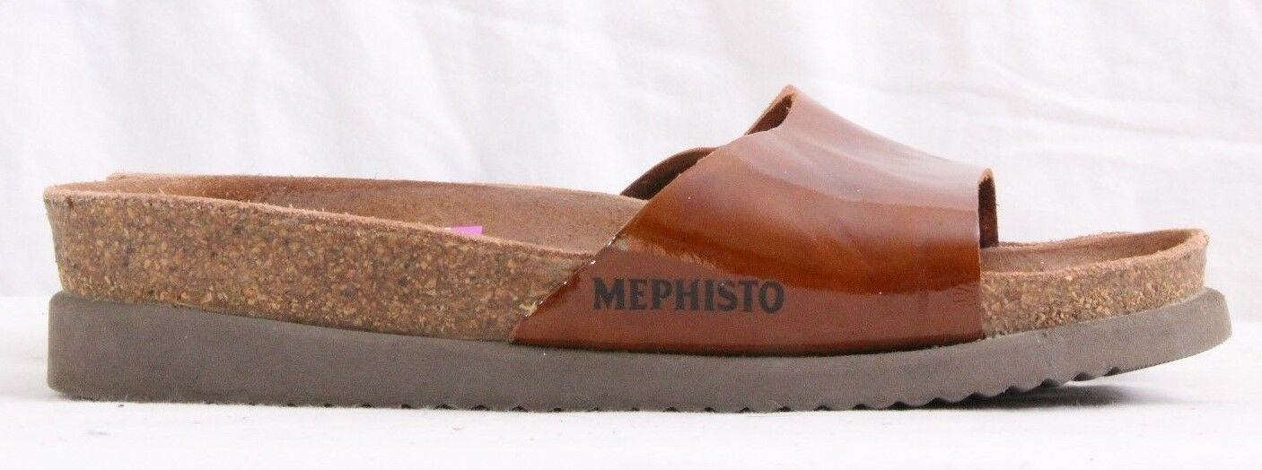 Mephisto Brown Patent Leather Wedge Slides Mule Women's Euro 35 (U.S. 4.5)