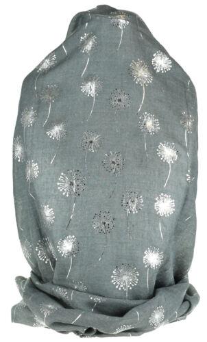 Glitter Metallic Dandelion Flower Flower Print Womens Neck Scarf Fashion Wrap