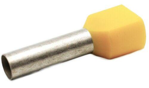 100 Stück Aderendhülsen 2x 6mm² x 18mm lang isoliert gelb Twin doppel gelb 2x6L