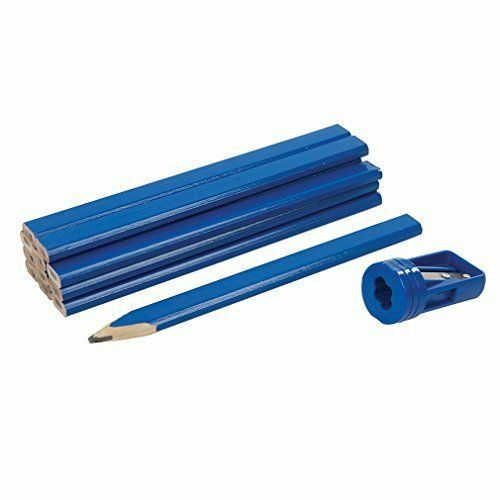 Silverline  Carpenters Pencils and free Sharpener - Set of 13 joiners wood work